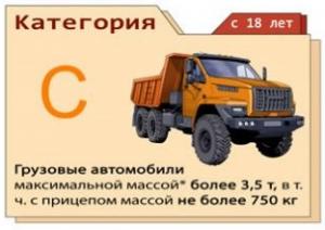 Категория С - грузовики средних и больших размеров
