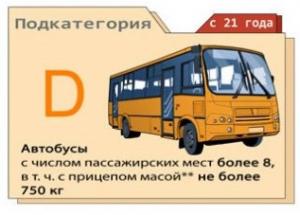 Категория D - пассажирские автобусы